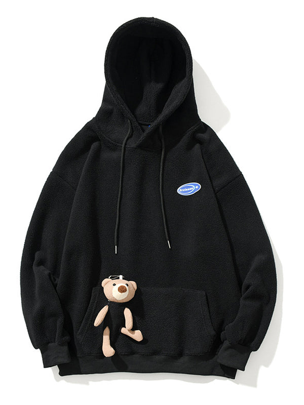 Men's Bear Decorated Pocket Teddy Hoodie