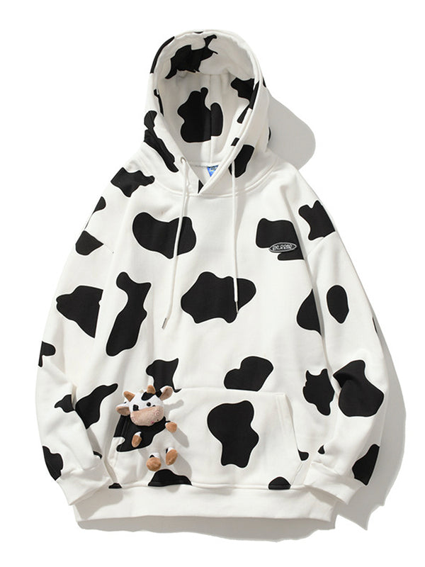 Men's Cow Print Pocket Teddy Hoodie