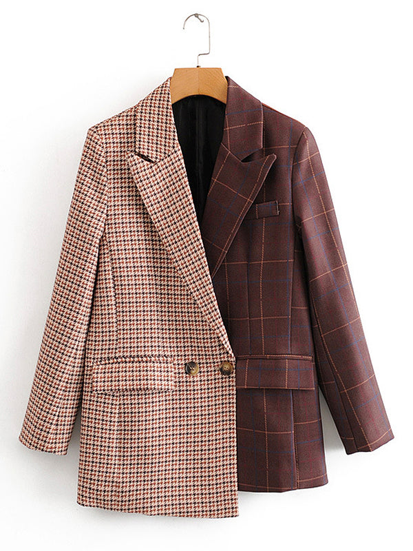 Color Block Contrast Casual Plaid Print Blazer