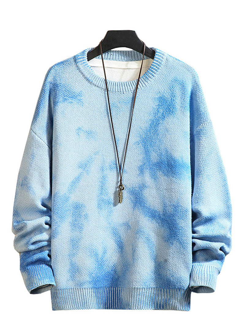 Men's Tie Dye Drop Shoulder Round Collar Sweater