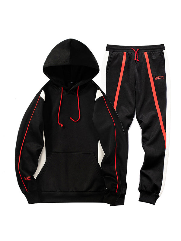 Men's Letter Print Hooded Sweatshirt Pants Sets