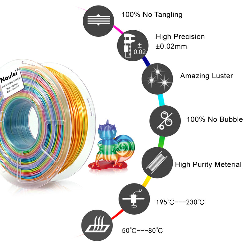 Noulei Silky PLA 3D Printing Filament Shiny Rainbow 1.75mm for Creality Anycubic  All  3D Printer