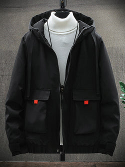 Men's Hooded Zip Flap Pocket Jacket