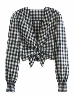 Plaid Pleated Cutout Hem Knotted Shirt