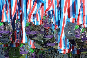 A large number of medals for participants of a virtual run event in the US