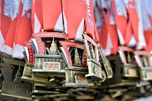 A group of virtual race medals for a virtual race event in the US