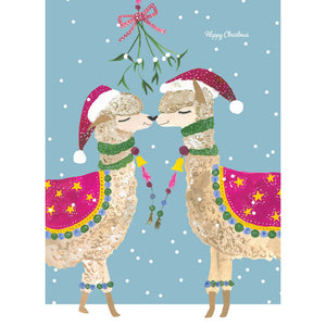 Mistletoe Llamas Kissing Card
