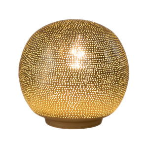 Ball Table Lamp with Dot Pattern Small Gold
