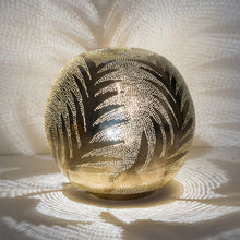 Load image into Gallery viewer, Ball Table Lamp with Leaf Pattern Medium Gold