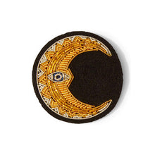 Load image into Gallery viewer, Hand Embroidered Crescent Moon Brooch