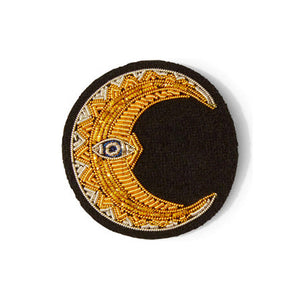 Hand Embroidered Crescent Moon Brooch