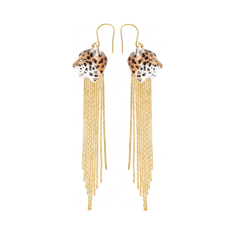 Leopard Fringe Earrings