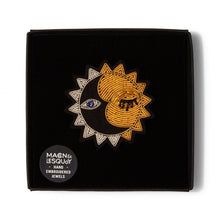 Load image into Gallery viewer, Hand Embroidered Friendly Sun Brooch