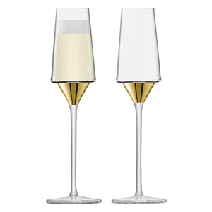 Gold Champagne Flute Glass Set of 2