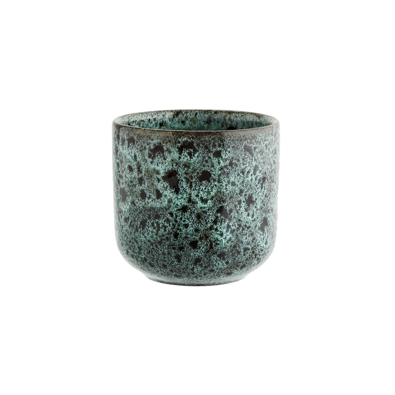 Green and Black Stoneware Cup