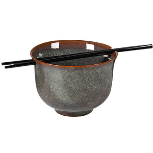 Ceramic Noodle Bowl with Chopsticks