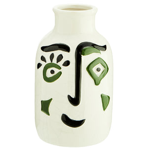 Small White Stoneware Vase With Face