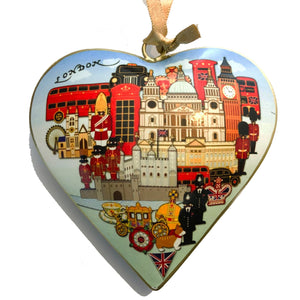 London Skyline Metal Heart Decoration
