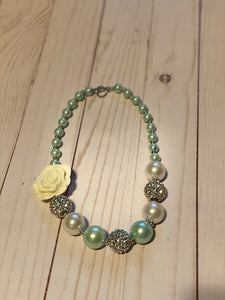 Mint Green Bubblegum Bead Necklace