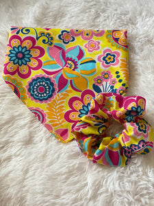 Bright Floral Dog Bandana Mommy and Me Set