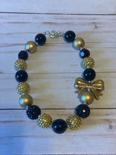 Load image into Gallery viewer, Black and Gold Bubblegum Bead Necklace