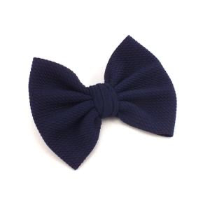 Navy Fabric Hair Bow
