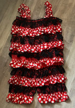 Load image into Gallery viewer, Red and Black Ruffled Romper