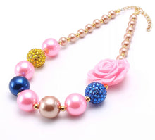 Load image into Gallery viewer, Pink, Gold, and Blue Bubblegum Bead Necklace