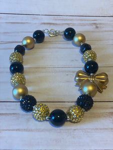 Black and Gold Bubblegum Bead Necklace