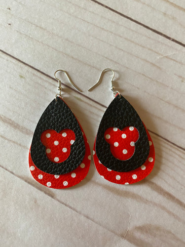 Disney Inspired Faux Leather Earrings