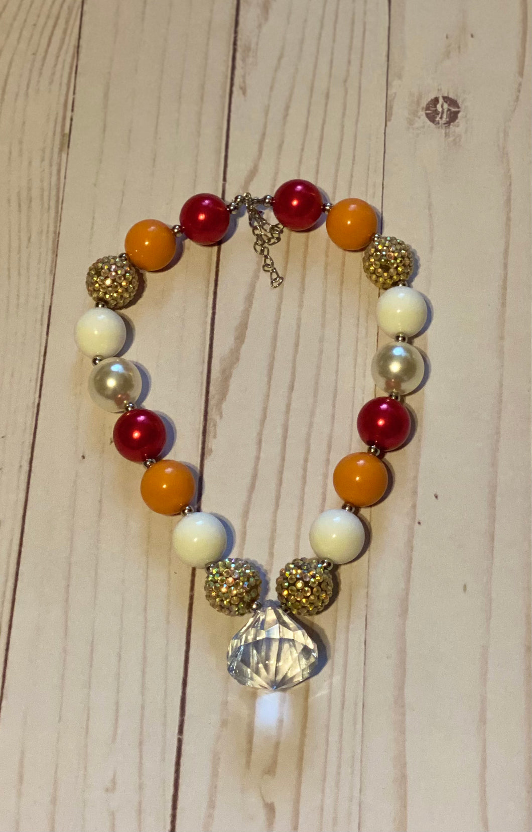 Red and Orange Diamond Bubblegum Bead Necklace