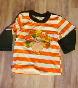 Striped Baby Boy Thanksgiving Shirt