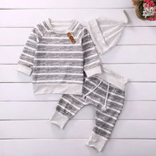Load image into Gallery viewer, Striped Grey Baby Boy Outfit