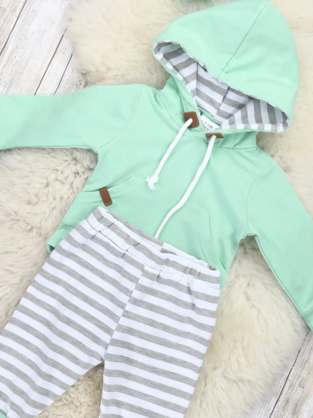 Mint Hooded Onesie Outfit