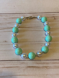 Mint Green and White Bubblegum Bead Necklace
