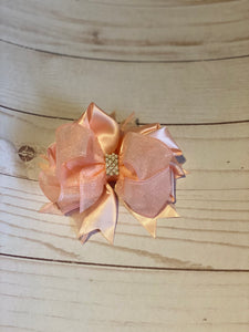 Peach Pearl Embellished Hair Bow