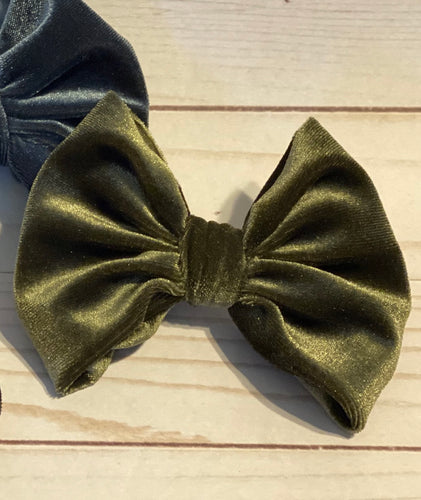 Olive Green Velvet Hair Bow