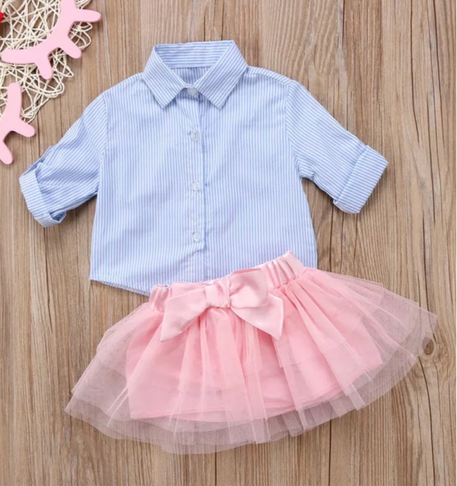 Spring Tutu and Pinstripe Button Down