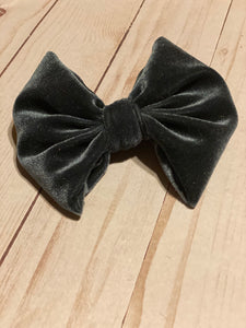 Charcoal Grey Velvet Hair Bow
