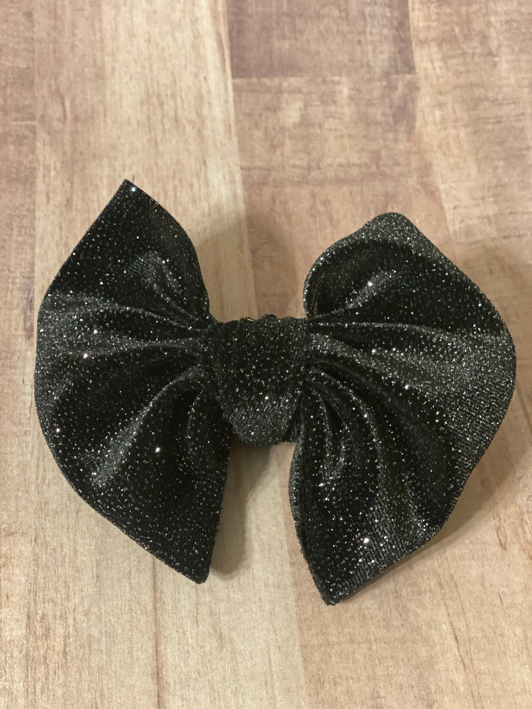 Glitter Sparkled Black Velvet Hair Bows