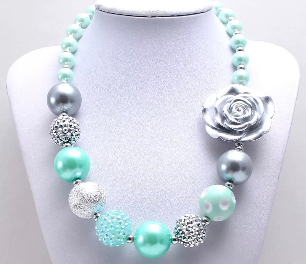 Mint and Silver Bubblegum Bead Necklace