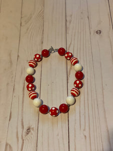 Red and White Polka Dot Bubblegum Bead Necklace