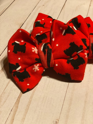 Christmas Scottie Dog Hair Bow