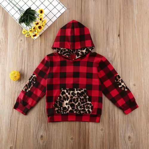 Buffalo Plaid and Leopard Hoodie