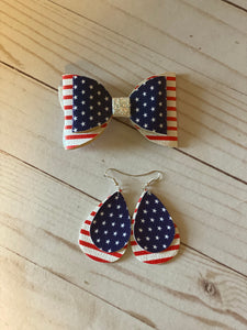 Mommy and Me Patriotic Bow and Earrings Set