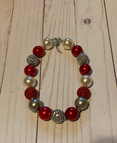 Red and Silver Bubblegum Bead Necklace