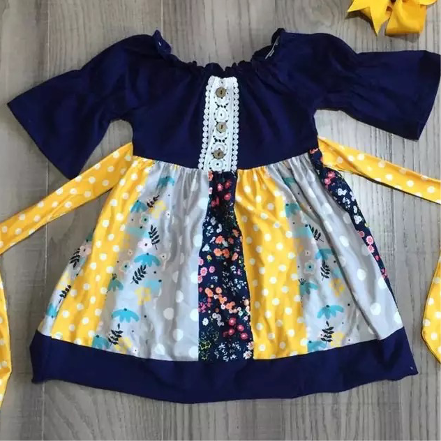 Navy and Yellow Spring Dress