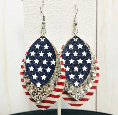 Patriotic Leather Earrings