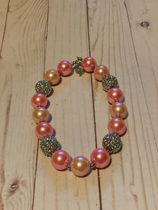 Pink and Rhinestone Bubblegum Bead Necklace