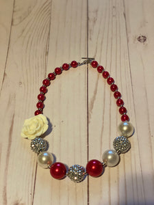 Red and White with Flower Bubblegum Bead Necklace